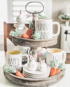 Tiered Trays for Spring! - Start at Home Decor Tiered Trays for Spring! - Start at Home Decor Tiered Trays for Spring! Diy Love, Tray Styling, Tiered Stand, Spring Home Decor, Spring Decorations, Hoppy Easter, Easter Subday, Easter Crafts, Easter Decor