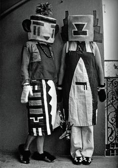 ¤ Sophie Taeuber-Arp and her sister  (1916)  dressed in costumes that Tauber-Arp designed for an interpretive dance to a poem by Hugo Ball.