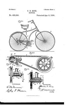 1892 bicycle patent cyclist gift bicycle decor vintage bicycle patent us425390 bicycle google patents blueprint artprintable malvernweather Image collections