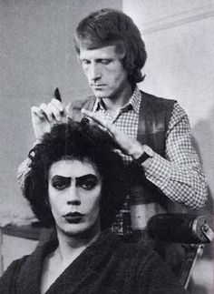 Tim Curry in makeup for the Rocky Horror Picture Show circa 1976