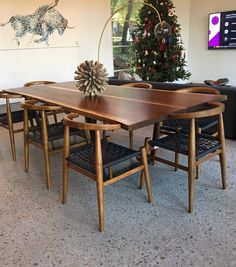 """Black walnut dining table Book-matched walnut slabs with blackened steel """"Eames"""" bases. Finished with three coats satin urethane, water borne availabl… Midcentury Modern Dining Table, Mid Century Modern Table, Walnut Dining Table, Mid Century Modern Furniture, Dining Room Table, Dining Chairs, Spanish Style Interiors, Dining Area Design, Dining Table Dimensions"""
