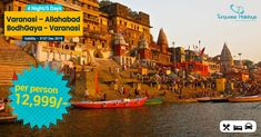 A trip to the Ganges will reveal a countless sight that will remain with you long after you leave. Holiday Package Less India Holidays, Holiday Packages, Times Square, Travel, Viajes, Destinations, Traveling, Trips