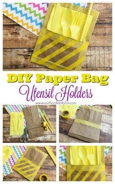 I have a cute tutorial for you that will add a splash of color and fun to your next party or cookout. I came up with these easy to make DIY paper bag utensil holders that can tie your whole table together. Your guests will be delighted to see the colorful cutlery sitting there for them. #DIY #Crafts #Utensilholders