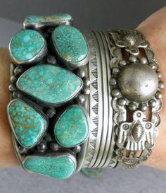 "Old Rare Navajo Spiderweb Green Turquoise Vandever Cuff Bracelet 73g 1.5"" Wide"