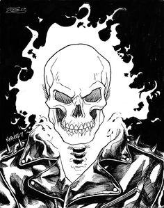 Done in my sketchbook as part of Inktober Brush pen on sketchbook paper. Ghost Rider Drawing, Ghost Rider Tattoo, Ghost Rider Johnny Blaze, Ghost Rider Marvel, Avengers Coloring Pages, Superhero Coloring, Super Coloring Pages, Comic Book Drawing, Train Drawing
