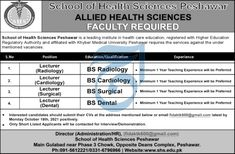 Lecturer Surgical Jobs in School of Health Sciences Peshawar 2021