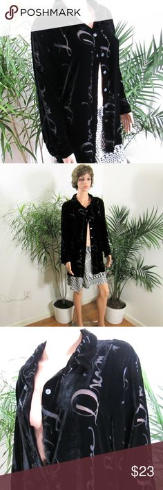 """Trendy Burnout Velvet Oversize Button Up Pitch black velvet with burnout word design- """"Peace, Love, Dream, Believe"""".  Versatile, tuck it in, layer as light jacket, pair with leggings!  Measured flat. 23"""" pit to pit. 31"""" long.  On 33"""" x 24"""" x 33.5""""  5' 9"""" mani.  85% rayon 15% silk Quacker Factory Tops Button Down Shirts"""