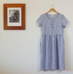 Blue stripe midi button up dress etsy 4.jpg
