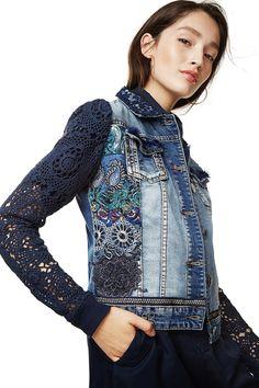 Desigual women's denim jacket fashion - All About Fashion Fabric, Denim Fashion, Fashion Outfits, Jackets Fashion, Fall Fashion, Fashion Women, Fashion Tips, Artisanats Denim, Jean Diy