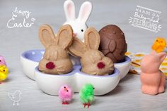 Baby Led Feeding White Chocolate Bunnies and Milk Chocolate Easter Eggs.