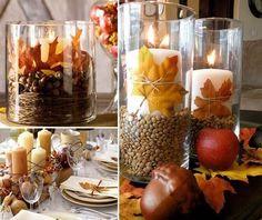 15 kerzen hochzeitskerzen herbstblaetter hochzeit tisch dekoration herbst Hochzeit mit Herbstblättern– Hochzeit Idee