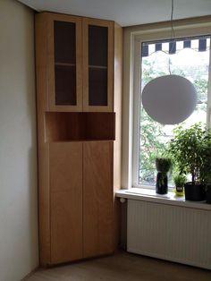Beech wooden corner cabinet