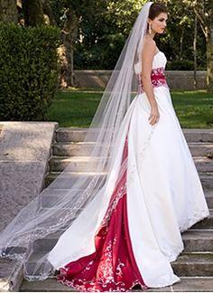 Forme Princesse Sans bretelle Bustier en coeur Traîne mi-longue Satiné Robe de mariée avec Broderie Plissé Ceintures Emperler