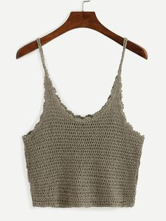 Crop Crochet Cami Top - Khaki.