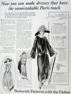 1922 Fashion Ad Butterick Patterns Dresses Paris by MyPaperedPast, $8.00