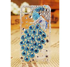 Apple iPhone 4S 4G 3GS iPod Touch Blue Peacock Crystals Transparent Clear Case Birthday Gift