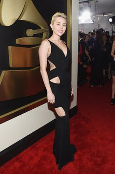 The 2015 Grammys Red Carpet - Miley Cyrus in alexandre Vauthier Couture