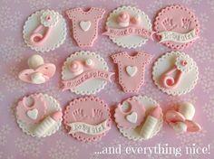 Toppers para cupcakes Bebé niña                              …