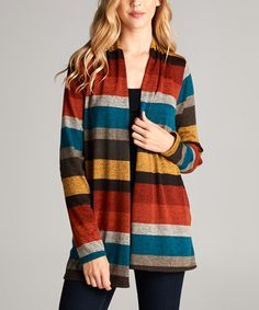 Another great find on #zulily! Rust & Brown Stripe Elbow-Patch Open Cardigan…