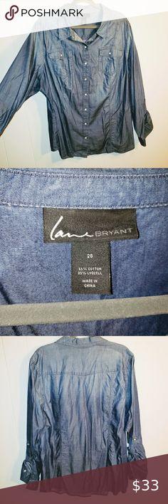 Lane Bryant Chambray Shirtdress 14 18 20 22 24 26 28 Light Denim 1x 2x 3x 4x