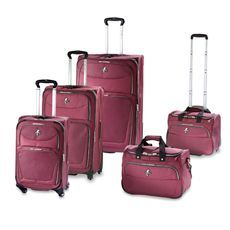 """Atlantic Compass 2 - 21"""", 25"""", 29"""" Spinners, Wheeled Carry-on & Shoulder Tote Set Cranberry"""