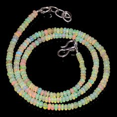 "30CRTS 3to3.5MM 18"" ETHIOPIAN OPAL RONDELLE BEAUTIFUL BEADS NECKLACE OBI639 #OPALBEADSINDIA"