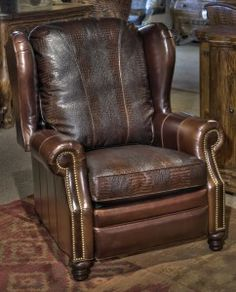 Dover Chocolate Wing Back Recliner   Brumbaughs Fine Home Furnishings