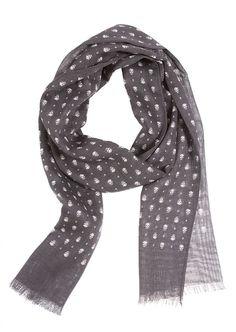 Alexander McQueen Scarf Foulard :: Alexander McQueen grey skulls print scarf | Montaigne Market
