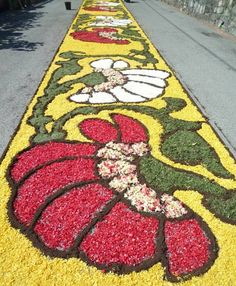 Corpus Domini, the festival of L'Infiorata is celebrated in Spello, a hill town in central Umbria. The feast is marked by laying extravagant floral carpets (Infiorata) over the streets. Floral artists create larger-than-life depictions of religious themes or re-creations of sacred art using only the petals and seeds, laboring all night on the eve of the Infiorata, when the Host is carried through the streets in a procession.