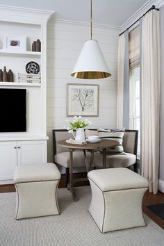Love this nook featuring a Goodman Hanging Lamp by Thomas O'Brien | http://www.circalighting.com/search_results.aspx?q=goodman