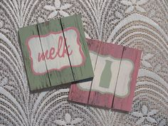Distressed wood coasters by Mossie (www.mossiecrafts.co.za or http://www.facebook.com/MossieCrafts on Facebook )