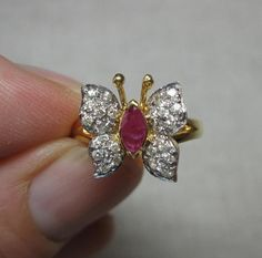 Butterfly Ring Ruby 26 Diamond 14K Gold Estate Jewelry Insect Wonderful