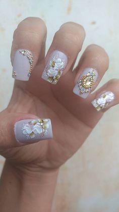 Wedding Manicure, Wedding Nails Design, Bridal Nails, Pretty Toe Nails, Cute Nails, Rhinestone Nails, Bling Nails, Polygel Nails, Acrylic Nails