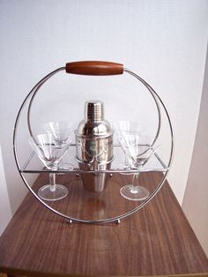 Martini Set With Chrome Caddy Vintage Mid by MyKnickKnackStore, $100.00