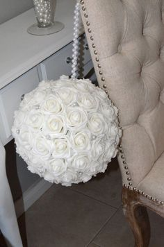 WHITE Real Touch Foam Rose Flower Ball with brooch by KimeeKouture