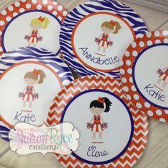 Super cute custom Clemson plates for your little cheerleader!!  You choose hair & eye color!  Adorable!!!