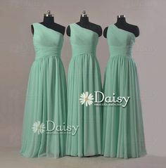 mint green bridesmaid dresses   One Shoulder Long bridesmaid dresses,Vintage Mint Green Chiffon Dress ...