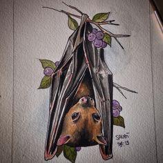 """NIGHT LOVERS""  Fruit bat  Tattoo idea Watercolor                                                                                                                                                                                 More"