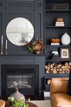 I like the side shelving and wood slats for the side of fireplace. We like the color! Need to pick a tile for face of fireplace. Maybe flat slate. Black Fireplace, Fireplace Design, Fireplace Ideas, Wood Burner Fireplace, Living Room Designs, Living Room Decor, Living Spaces, Living Rooms, Fall Home Decor