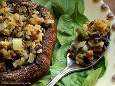 Happy Thanksgiving Walnut and Wild Rice Stuffed Portobellos