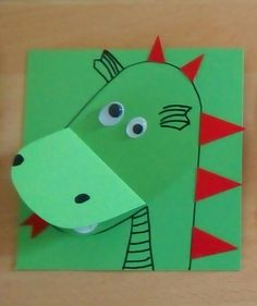 Invitation card dragon with text in its mouth or on the back Ein … - Geburtstag Animal Crafts For Kids, Toddler Crafts, Preschool Crafts, Art For Kids, Dragon Birthday, Dragon Party, Glue Crafts, Paper Crafts, Art Room Doors