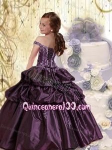 Navy Blue Off The Shoulder Appliques and Pick-ups Little Girl Pageant Dress - Quinceanera 100