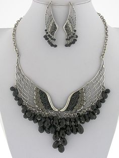 Antique Silver Black Crystal Bead STEAMPUNK Angel Wing Bejeweled Necklace Set $36.99