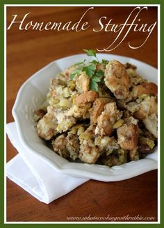 Homemade Stuffing is a savory delicious recipe that's not hard at all! by whatscookingwithruthie.com #recipes #side_dish #holidays