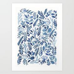 gouache painting using my favourite indigo blue shade.<br/> <br/> blue, indigo, leaves, pattern, flowers, nature, gouache,