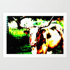 Abstract Longhorn Art Print by Lon Casler Bixby - $16.00 – Fine Art Prints, greeting cards, t-shirts, cell phone cases, & more.