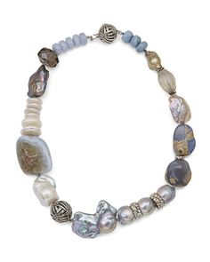 Smoky+Quartz+&+Blue+Lace+Agate+Beaded+Necklace+by+Stephen+Dweck+at+Neiman+Marcus.