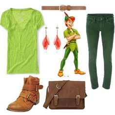 Peter Pan... So wearing this outfit the next time I go to Disneyland. Then buying a new Peter Pan hat! Yes!!>>>>>>>>>>>>love the peter pan!