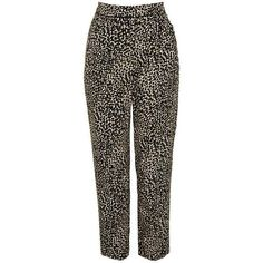 TopShop Animal Print Peg Trousers ($66) ❤ liked on Polyvore featuring pants, capris, tapered trousers, peg trousers, brown crop pants, tapered pants and brown pants