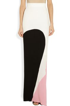 Roksanda Ilincic | Harlyn georgette (pink and white) and crepe (black) maxi skirt | NET-A-PORTER.COM